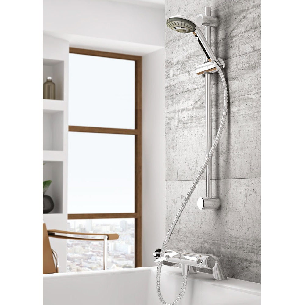 Inta Vue Safe Touch Thermostatic Bath Shower Mixer with Sliding Kit, Deck Mounting Legs, Chrome