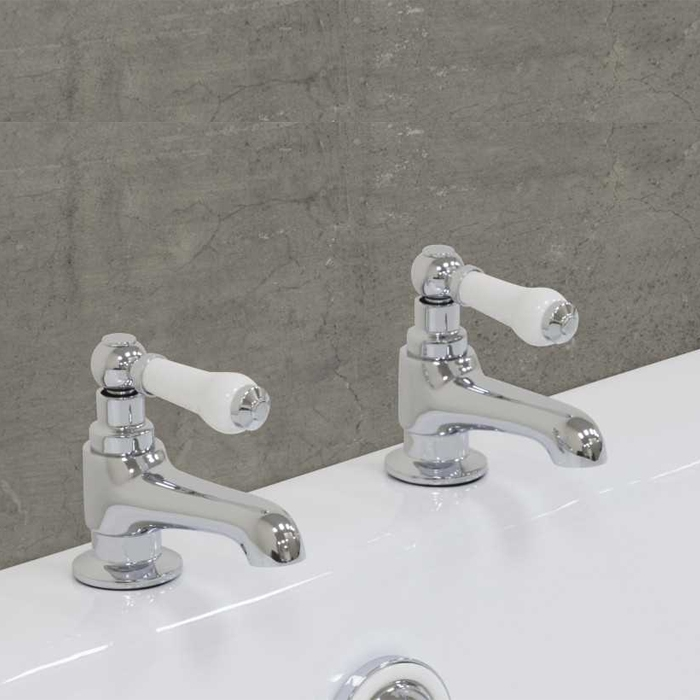 Jig Rim Mounted Bath Taps Pair - Chrome-0