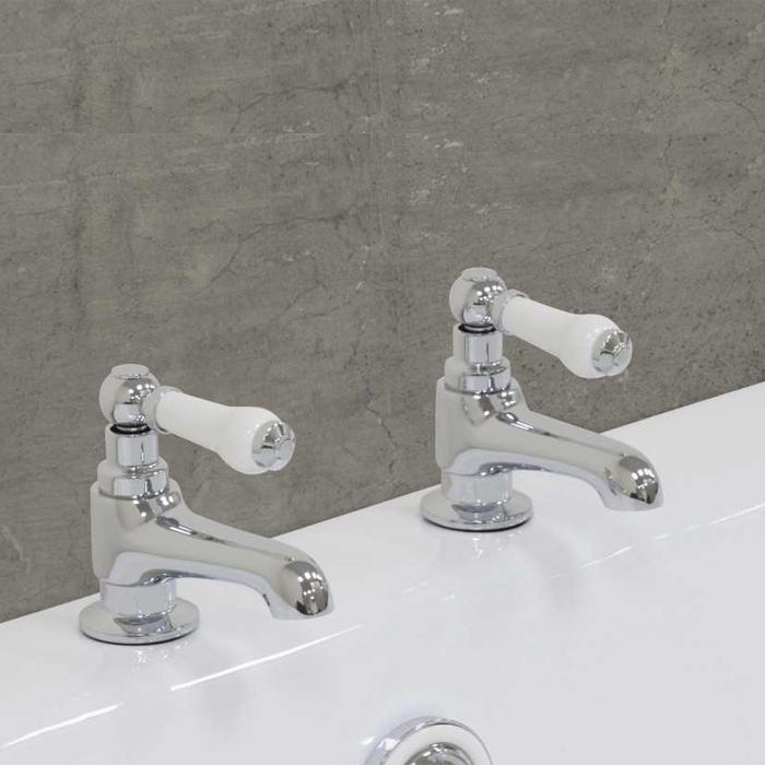 Jig Rim Mounted Bath Taps Pair - Chrome