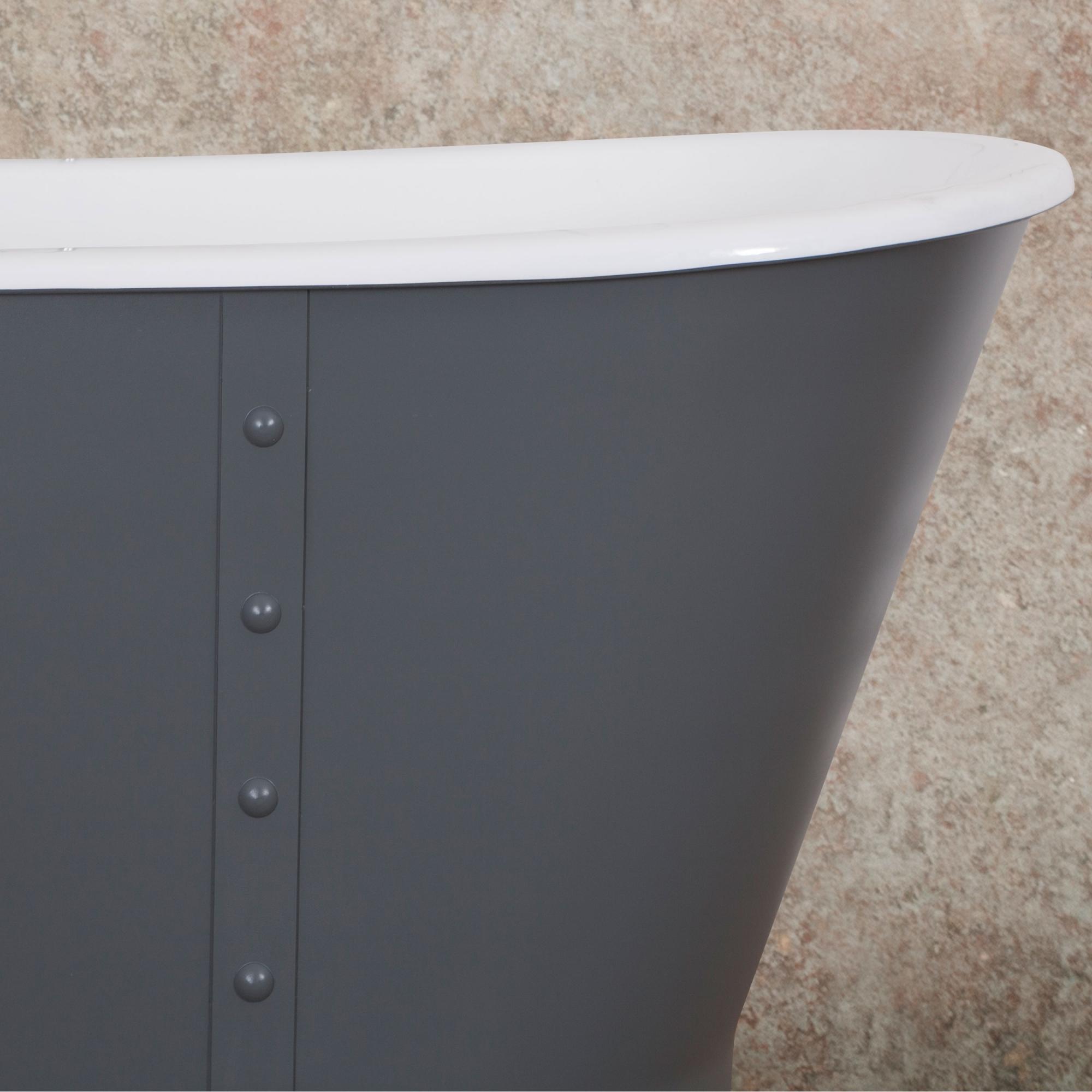 Jig Sudbury Cast Iron Roll Top Bath 1700mm L x 715mm W - 0 Tap Hole-0