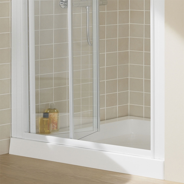 Lakes Classic Semi Frameless Bi-Fold Shower Door 1850mm H x 900mm W - Silver-0