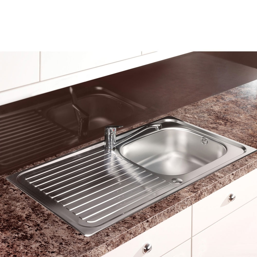 Leisure Linear 1.0 Bowl Reversible Kitchen Sink with TAD2CM/ Tap 950mm L x 508mm W - Stainless Steel