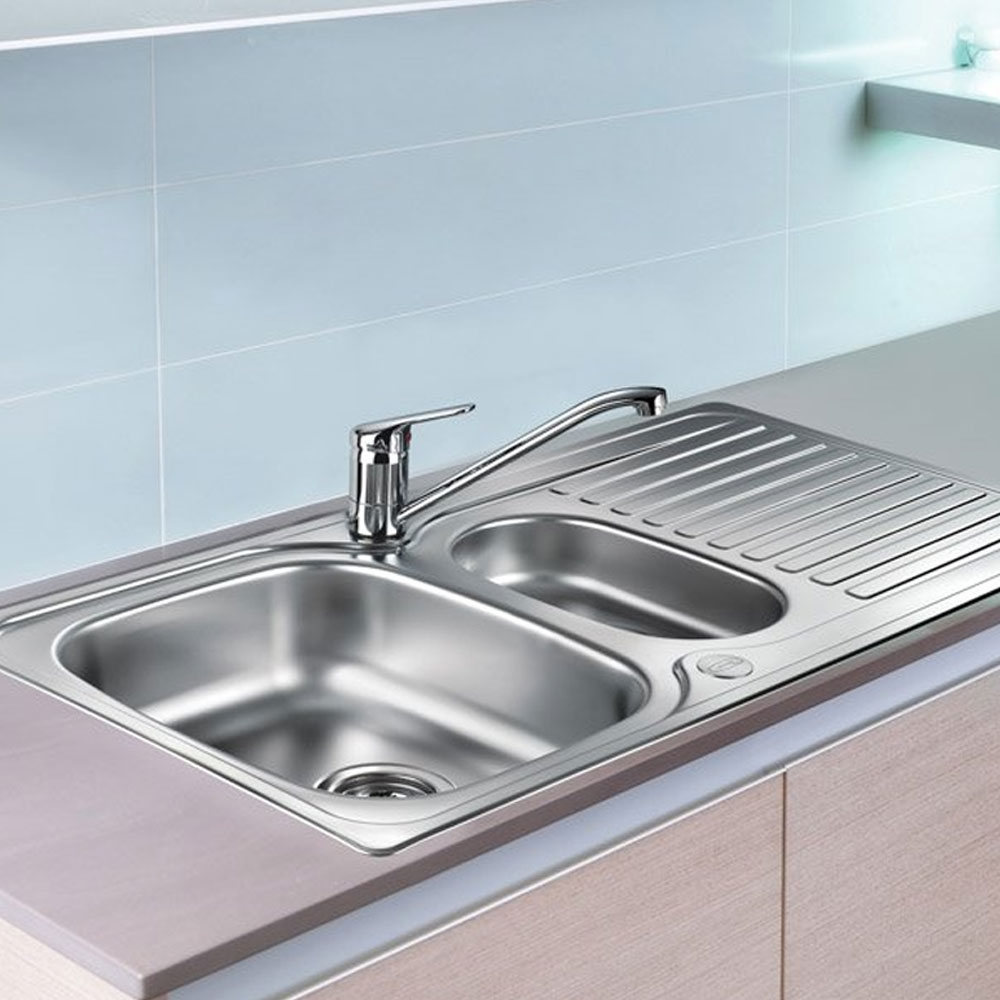 Leisure Linear 1.5 Bowl Reversible Kitchen Sink with TAD2CM/ Tap - Stainless Steel-0