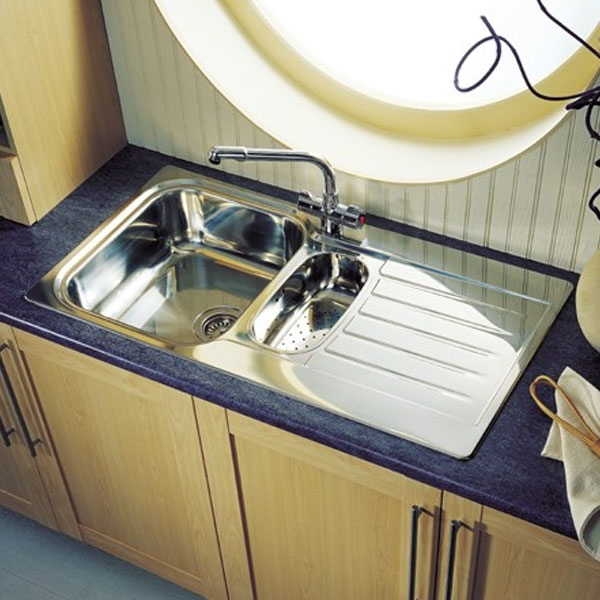 Leisure Seattle 1.5 Bowl Reversible Kitchen Sink - Polished Stainless Steel-0