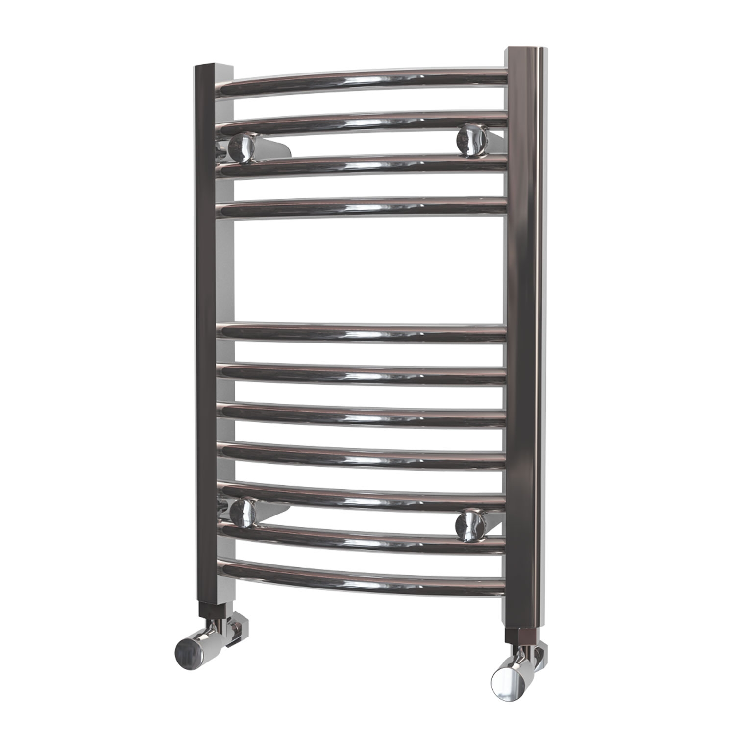 MaxHeat Camborne Curved Towel Rail, 600mm High x 400mm Wide, Chrome