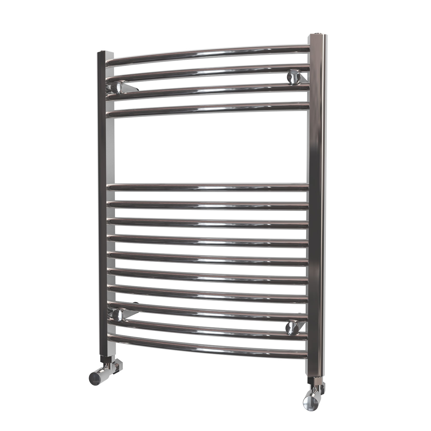 MaxHeat Camborne Curved Towel Rail, 800mm High x 600mm Wide, Chrome