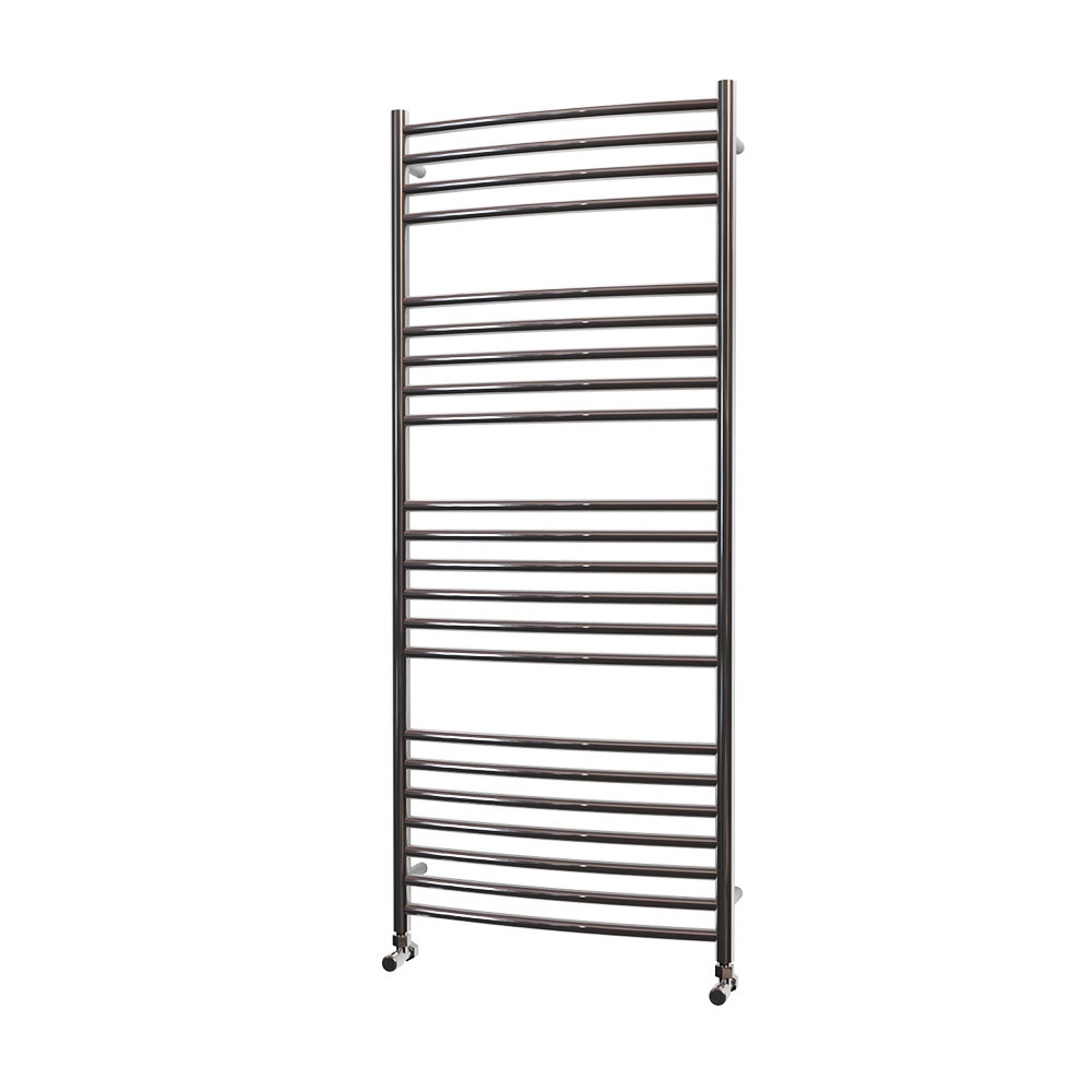 MaxHeat Camborne Curved Towel Rail, 1400mm High x 600mm Wide, Polished Stainless Steel