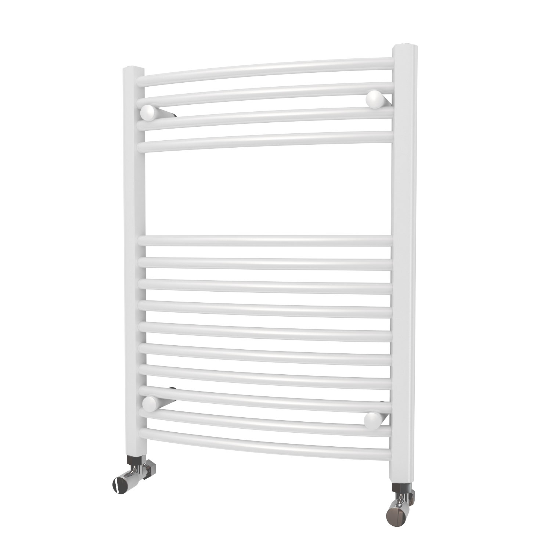 MaxHeat Camborne Curved Towel Rail, 800mm High x 600mm Wide, White