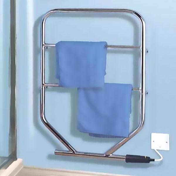 MaxHeat Q-Rail Electric Heated Towel Rail 671mm H x 787mm W 100W Chrome