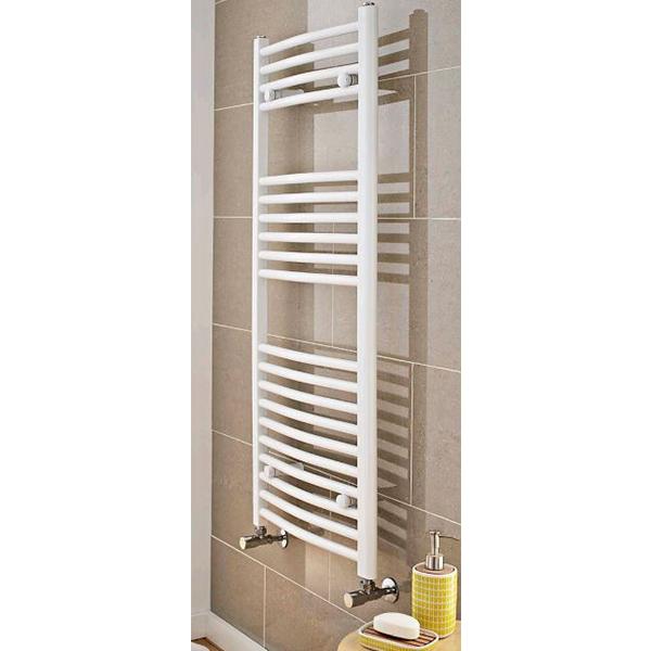 MaxHeat MaxRail Curved Heated Towel Rail 1800mm H x 500mm W White