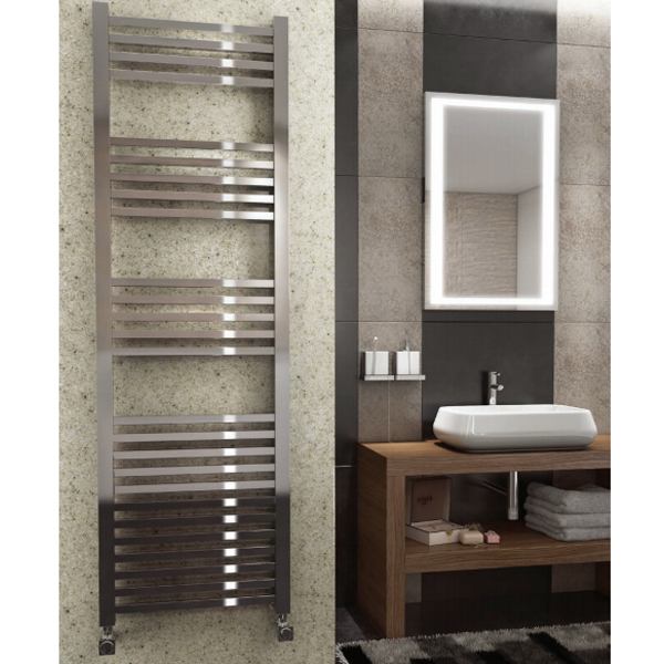 Maxheat MaxRail Squared Designer Towel Rail, 800mm High x 600mm Wide, Chrome