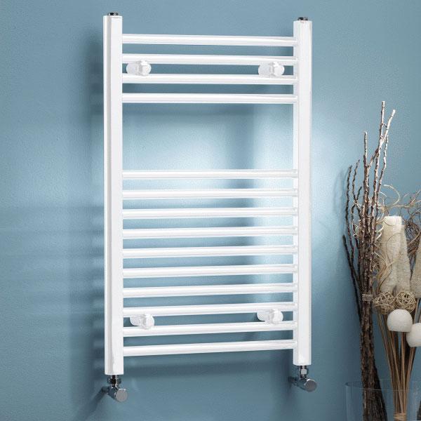 MaxHeat MaxRail Straight Heated Towel Rail 800mm H x 500mm W White