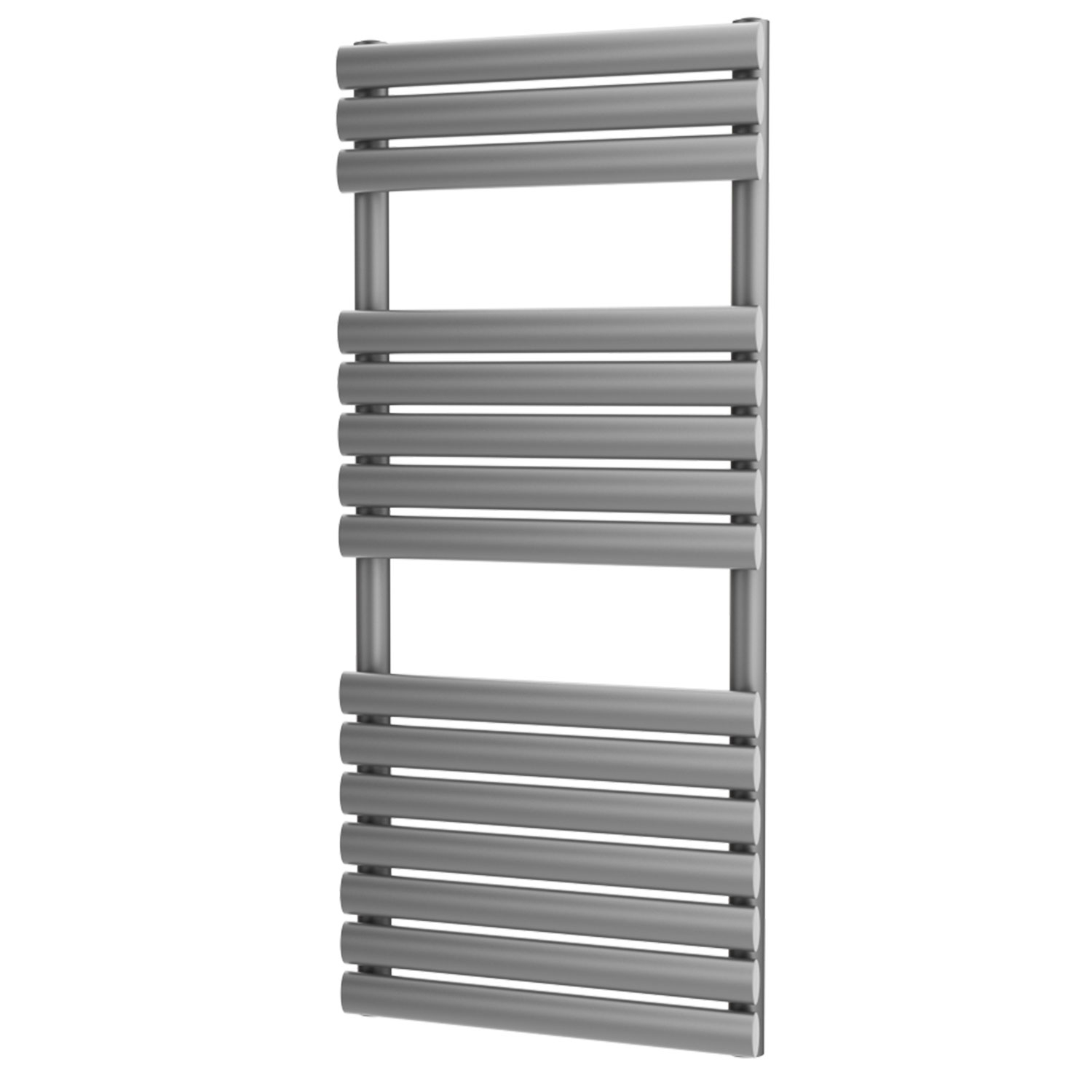 MaxHeat Saltash Designer Towel Rail, 1120mm High x 500mm Wide, Silver