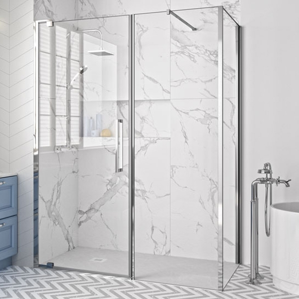 Merlyn 10 Series Inline Pivot Shower Door 1400mm Wide - Clear Glass