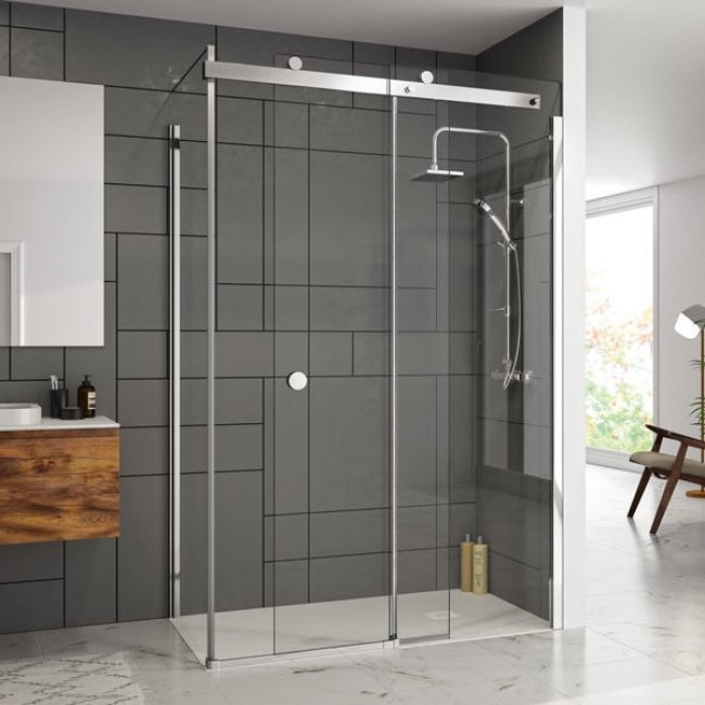 Merlyn 10 Series LH Sliding Shower Door 1700mm Wide - 10mm Clear Glass-1