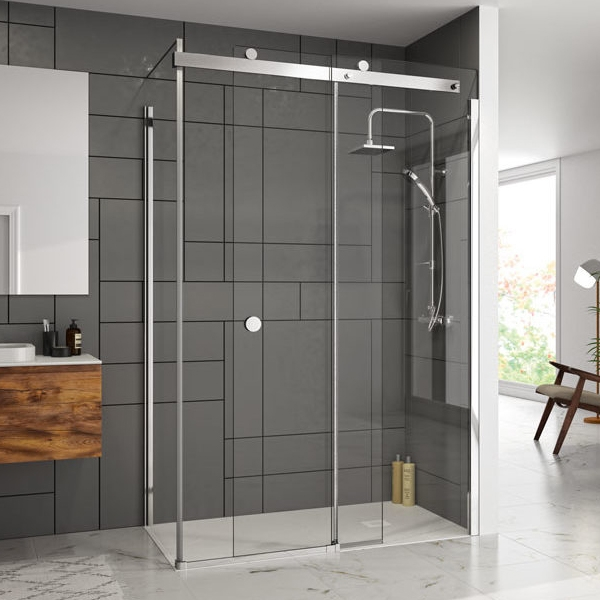 Merlyn 10 Series Sliding Shower Door with Tray 1000mm Wide Left Handed - Clear Glass-1