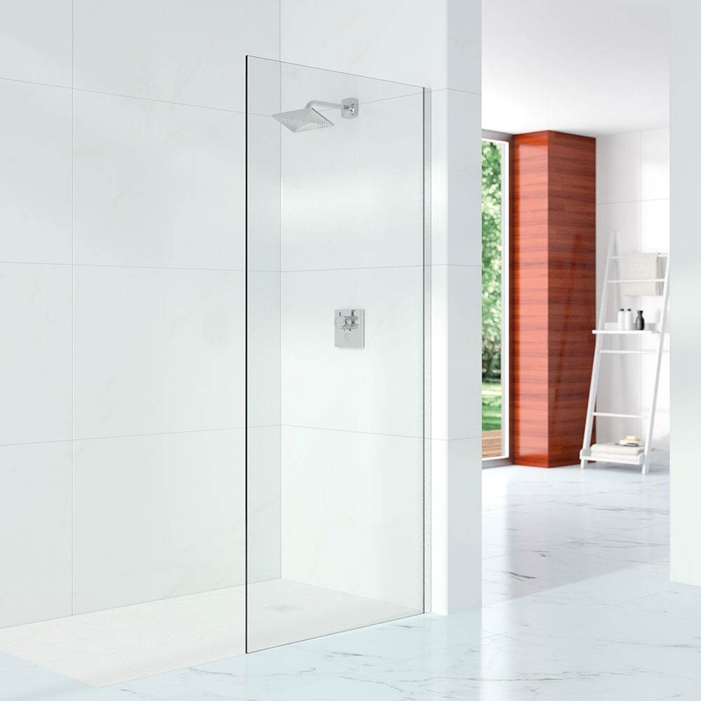 Merlyn 10 Series Wet Room Glass Panel with Wall Profile 600mm Wide - 10mm Glass