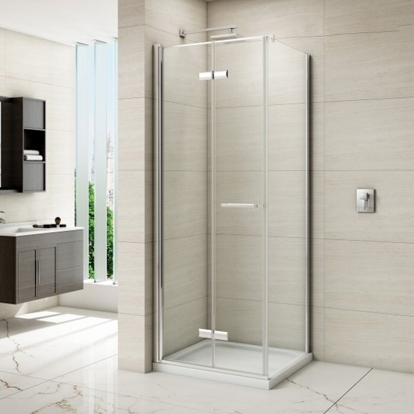 Merlyn 8 Series Frameless Hinged Bi-fold Shower Door with Tray 1000mm Wide - 8mm Glass-0