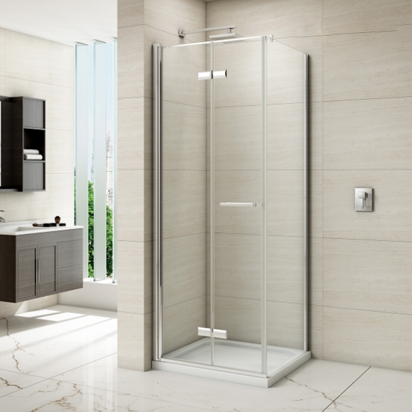 Merlyn 8 Series Frameless Hinged Bi-Fold Shower Door with Mstone Tray, 760mm Wide, 8mm Glass