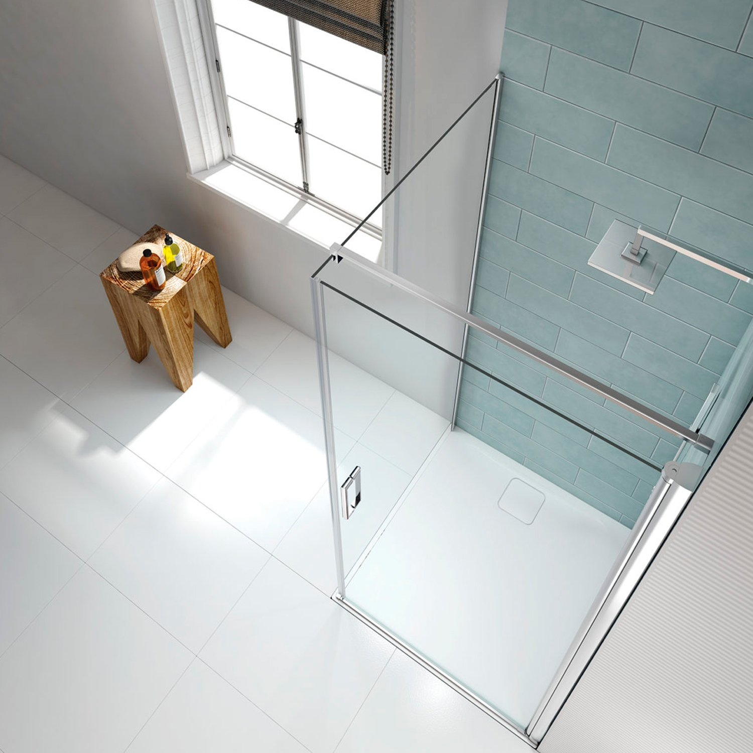 Merlyn 8 Series Frameless Pivot Shower Door 900mm with 900mm x 900mm Tray - 8mm Glass