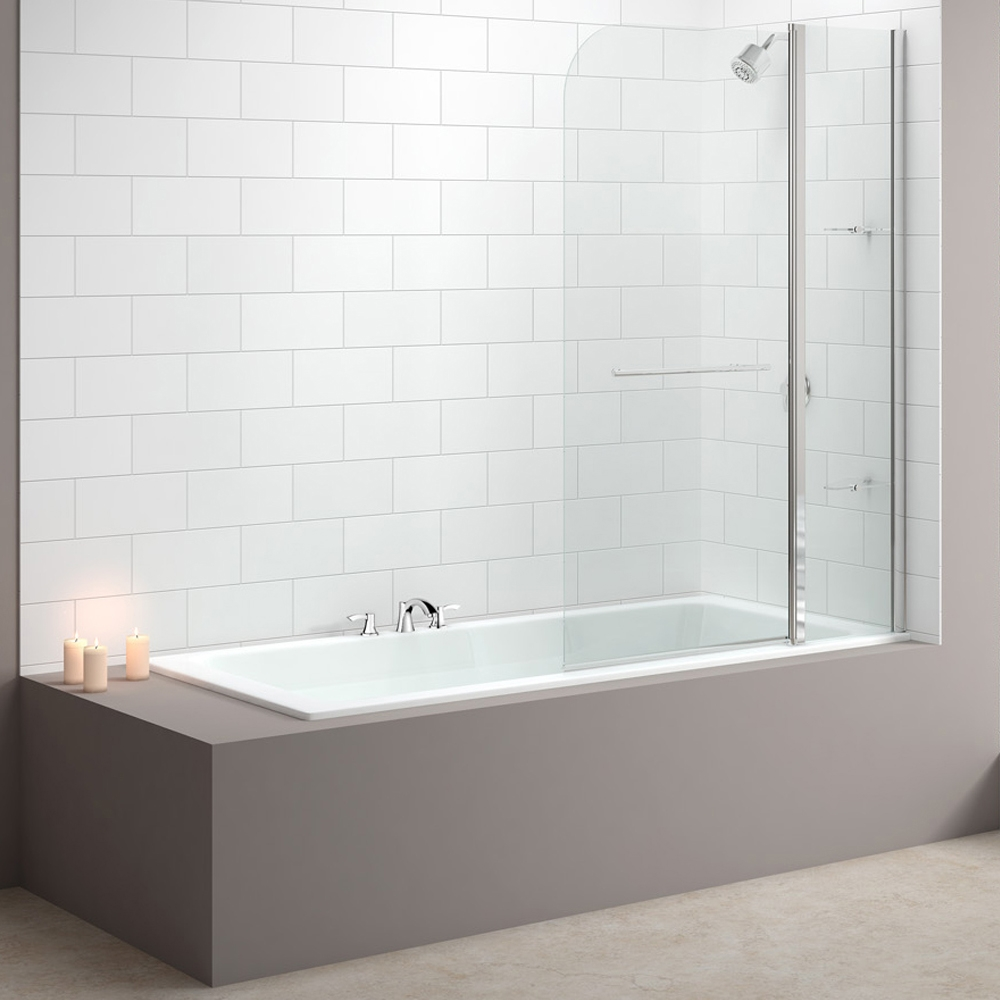 Merlyn 2-Panel Curved Bath Screen, 1500mm High x 1150mm Wide, Clear Glass