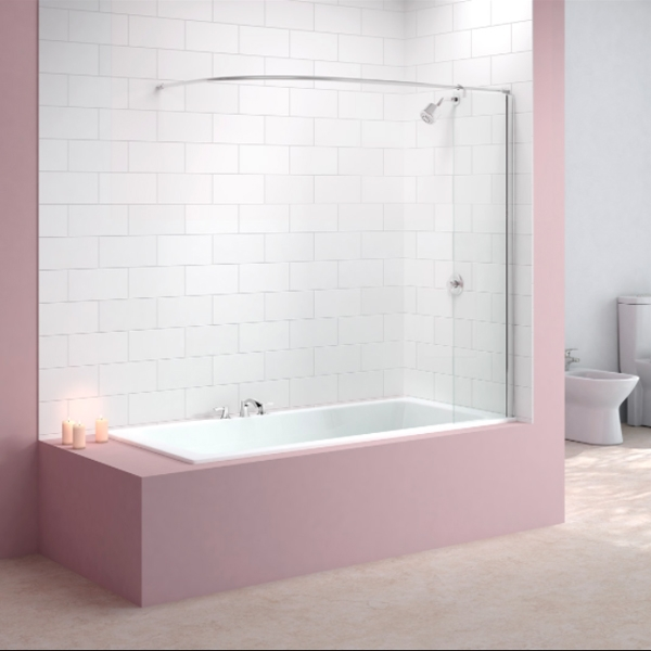 Merlyn Mbox Curtain Rail Bath Screen, 1500mm High x 300mm Wide, Clear Glass