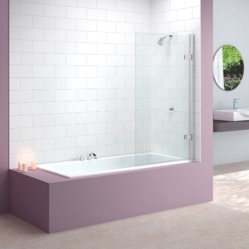 Merlyn Hinged Square Bath Screen, 1500mm High x 850mm Wide, Clear Glass-0