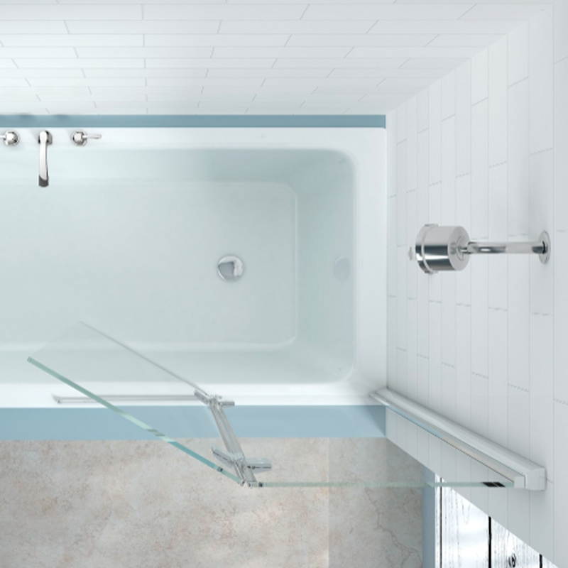 Merlyn 2-Panel Hinged Bath Screen, 1500mm High x 900mm Wide, Right Handed - Clear Glass-0