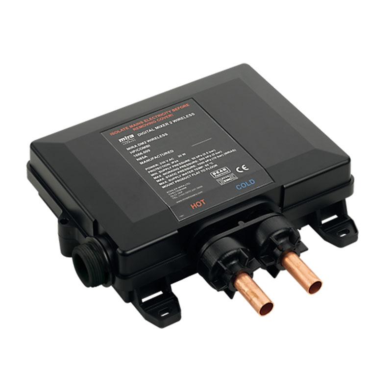 Mira Platinum Concealed Thermostatic Digital Shower Mixer Ceiling Fed High Pressure - Black/Chrome