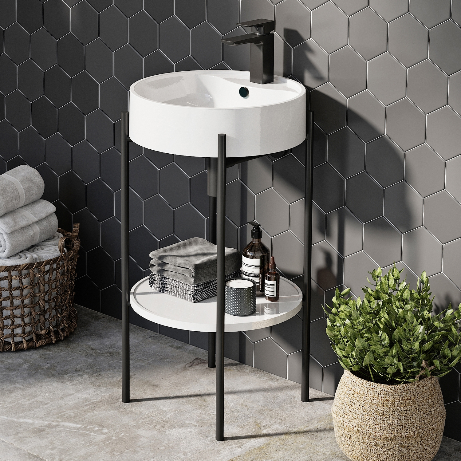 Orbit Supreme Round Basin with Stand 450mm Wide - 1 Tap Hole