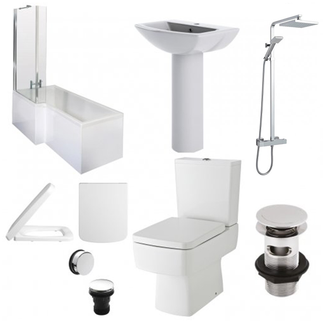 Bliss Complete Bathroom Suite with 1700mm x 850mm LH L-Shaped Shower Bath