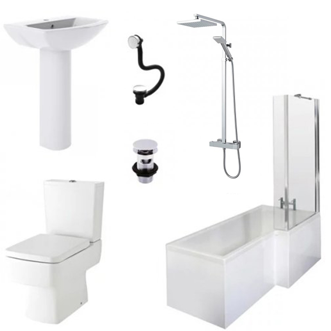 Bliss Complete Bathroom Suite with 1700mm x 850mm RH L-Shaped Shower Bath