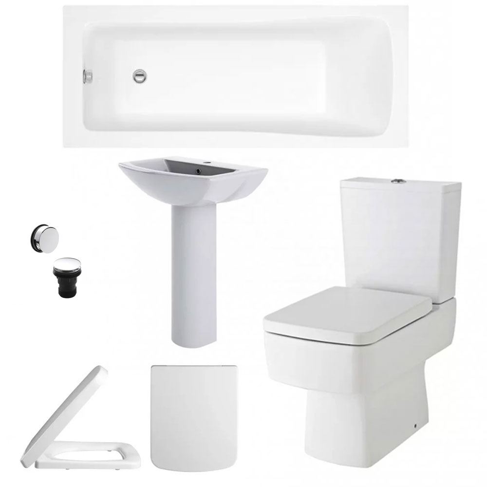 Bliss Complete Bathroom Suite with 1800mm x 800mm Square Single Ended Bath