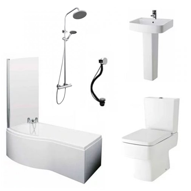 Bliss Complete Bathroom Suite with 1700mm x 735/800mm LH B-Shaped Shower Bath