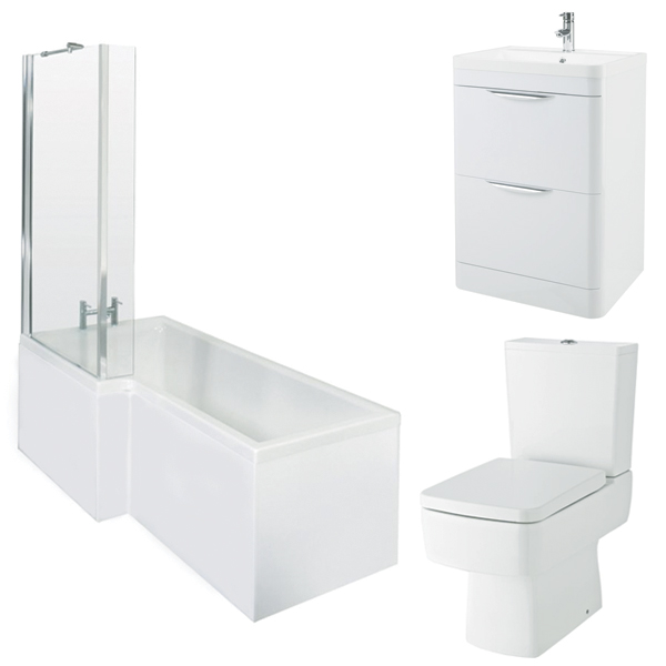 Bliss Complete Bathroom Suite with 1700mm LH L-Shaped Shower Bath and Close Coupled Toilet