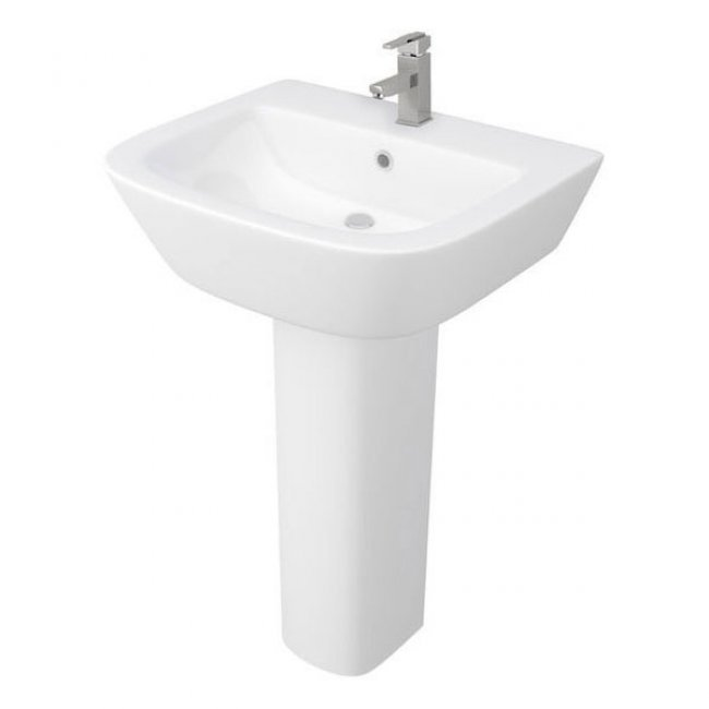 Tetris Complete Bathroom Suite L-Shaped Shower Bath LH and Full Pedestal Basin