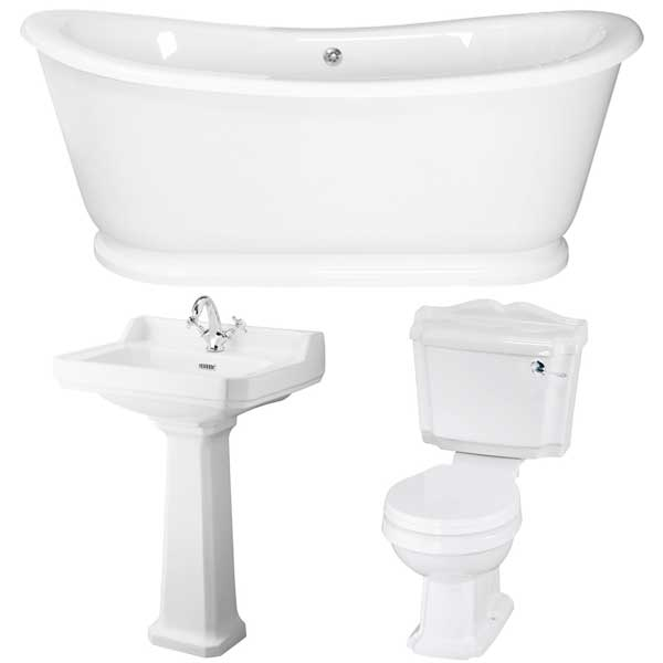 Traditional Complete Bathroom Suite with 1750mm x 800mm Freestanding Bath and 600mm Basin-1