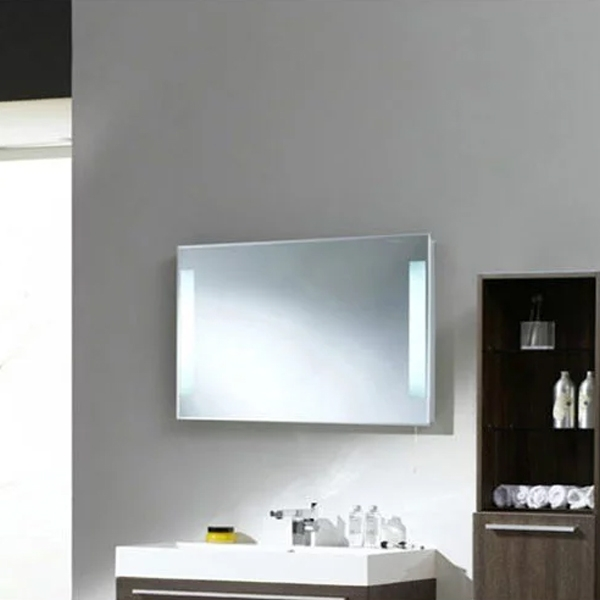 Premier Adela Bathroom Mirror, 500mm High x 700mm Wide, Stainless Steel-0