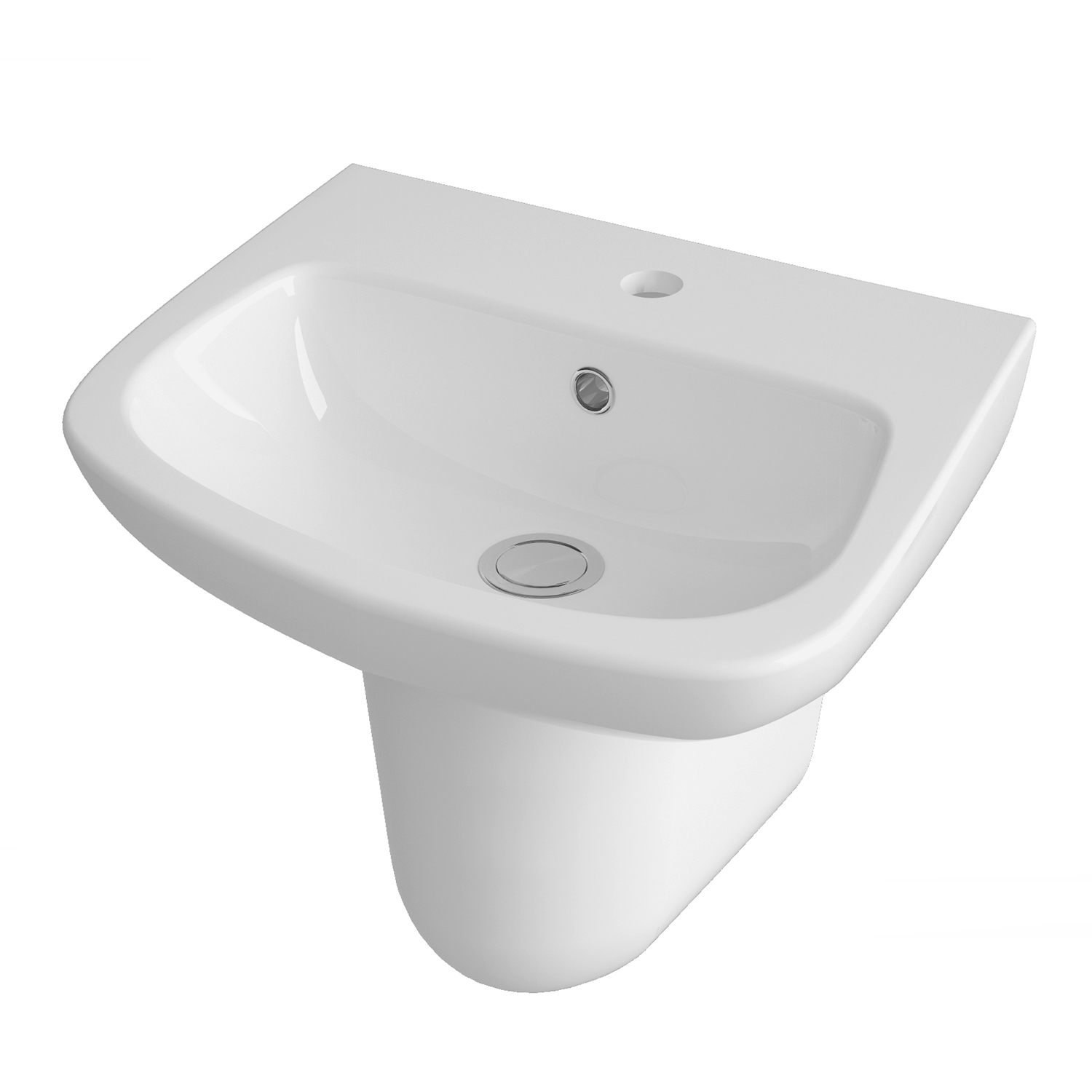 Premier Ambrose Basin and Semi Pedestal 500mm Wide 1 Tap Hole