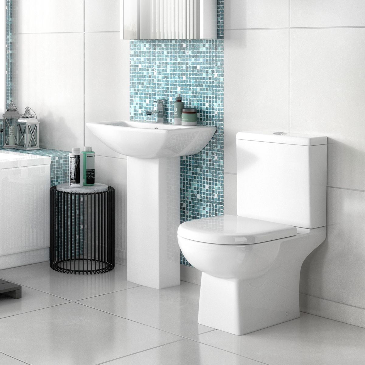 Premier Asselby Medium Basin and Full Pedestal 1 Tap Hole 600mm Wide-0