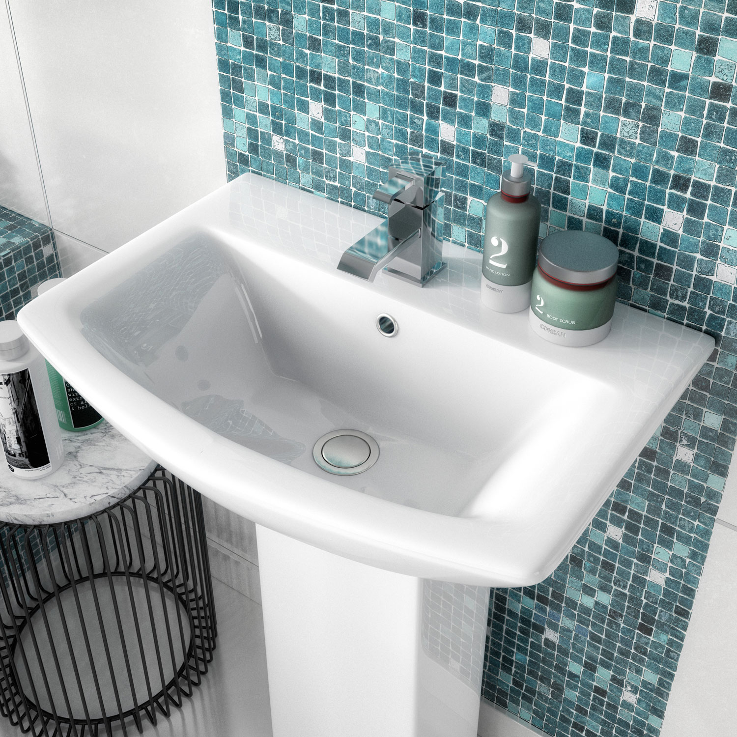 Premier Asselby Medium Basin and Full Pedestal 1 Tap Hole 600mm Wide-1