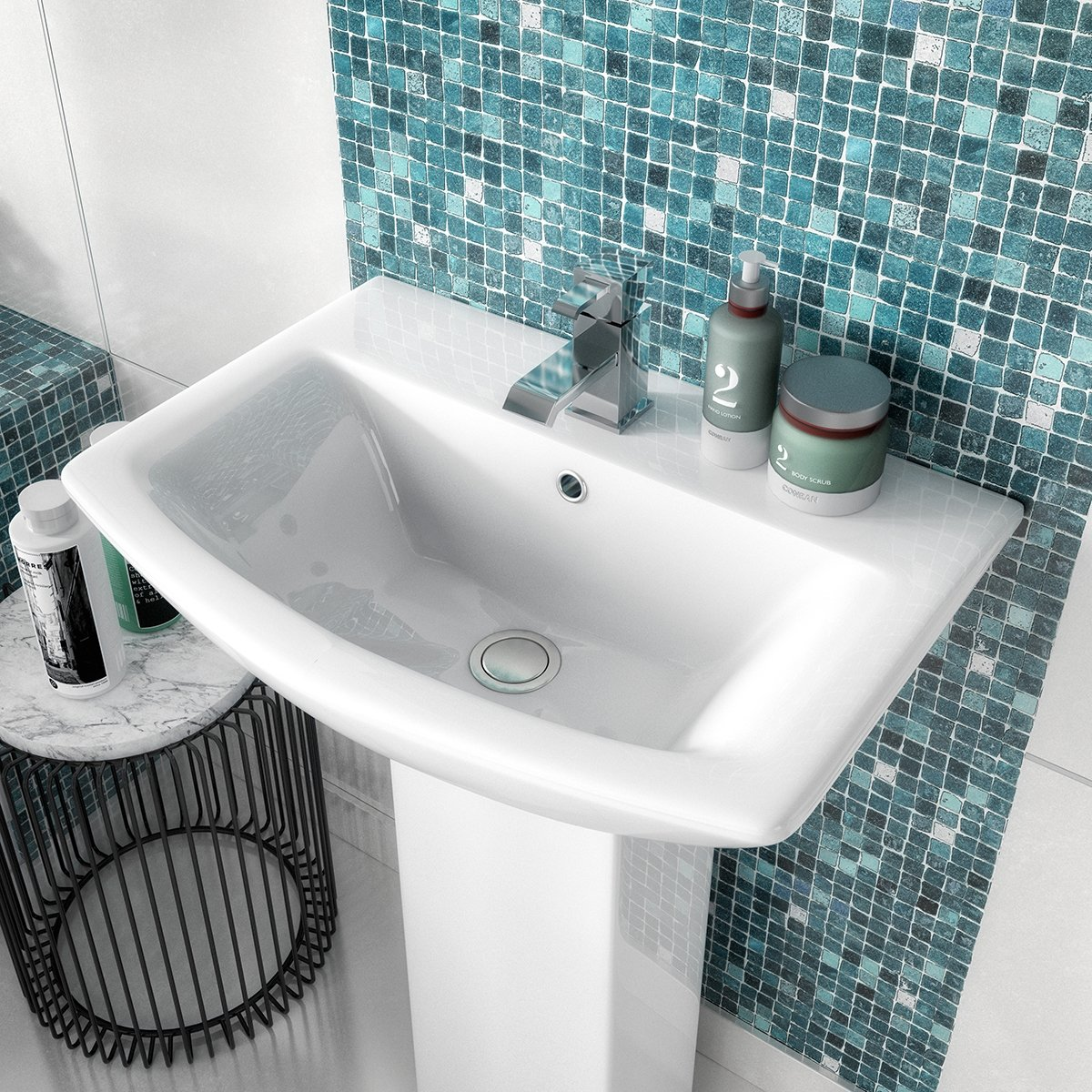 Premier Asselby Medium Basin and Full Pedestal 1 Tap Hole 600mm Wide