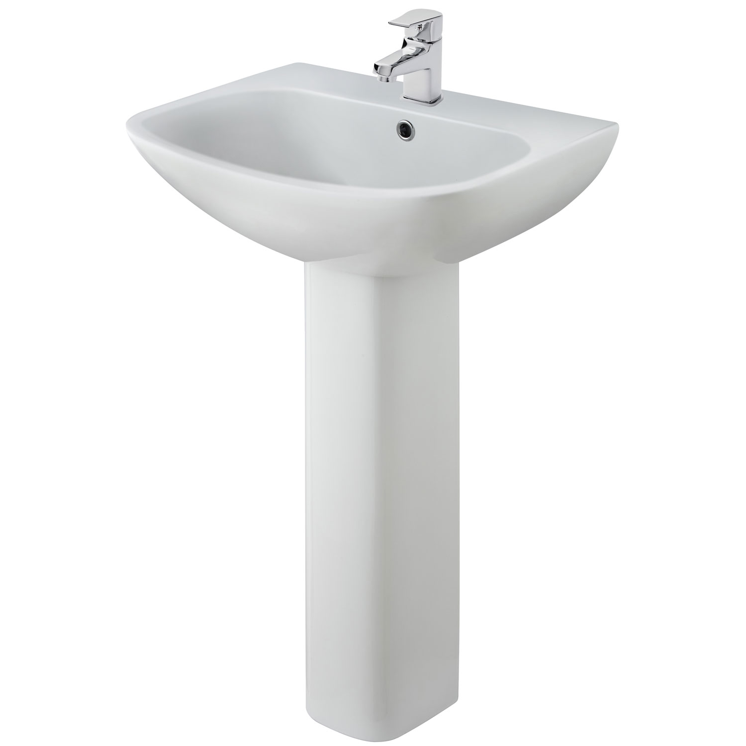 Premier Ava Basin and Full Pedestal 545mm Wide - 1 Tap Hole
