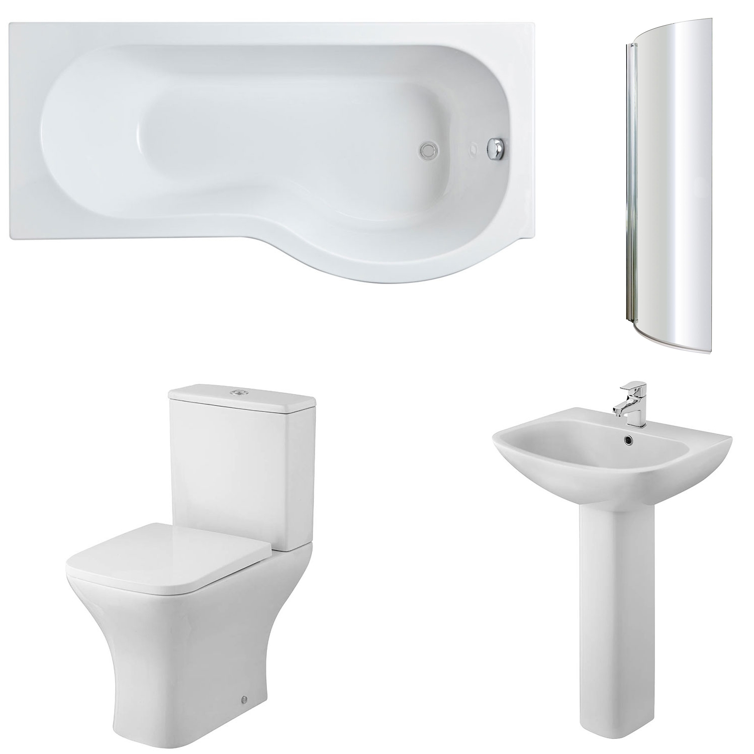 Premier Freya Complete Bathroom Suite with P-Shaped Shower Bath 1700mm - Right Handed