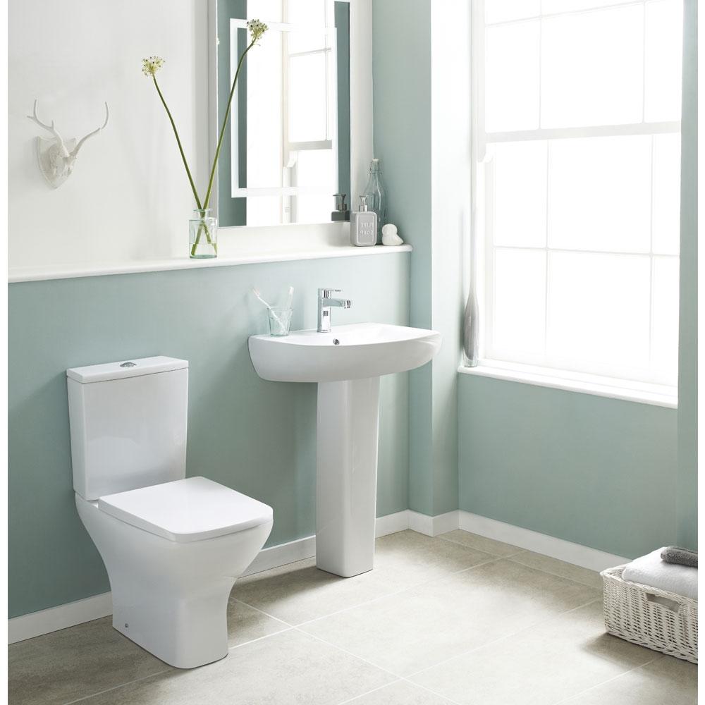 Premier Ava Close Coupled Rimless Toilet WC Push Button Cistern - Soft Close Seat