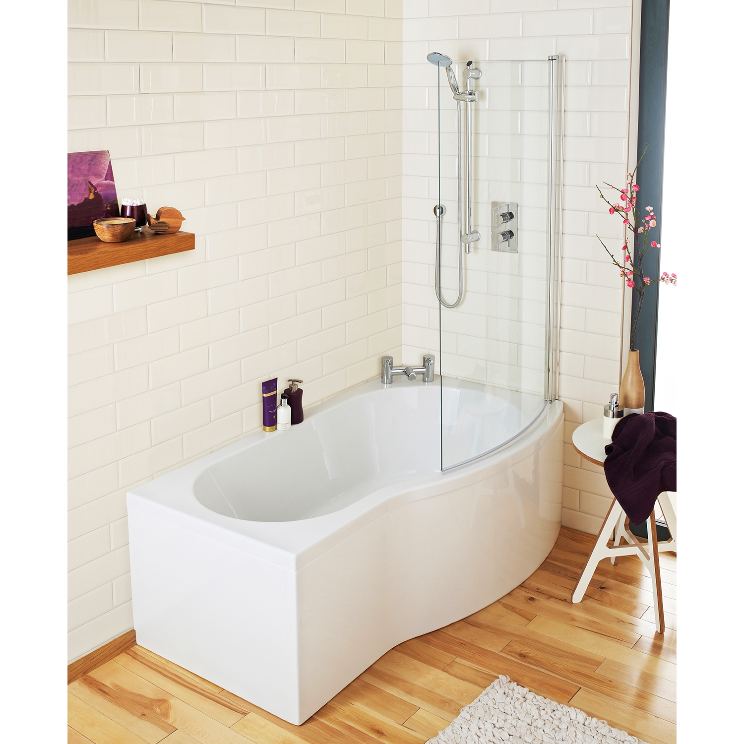 Premier B-Shaped Curved Shower Bath 1500mm x 735mm/800mm Right Handed