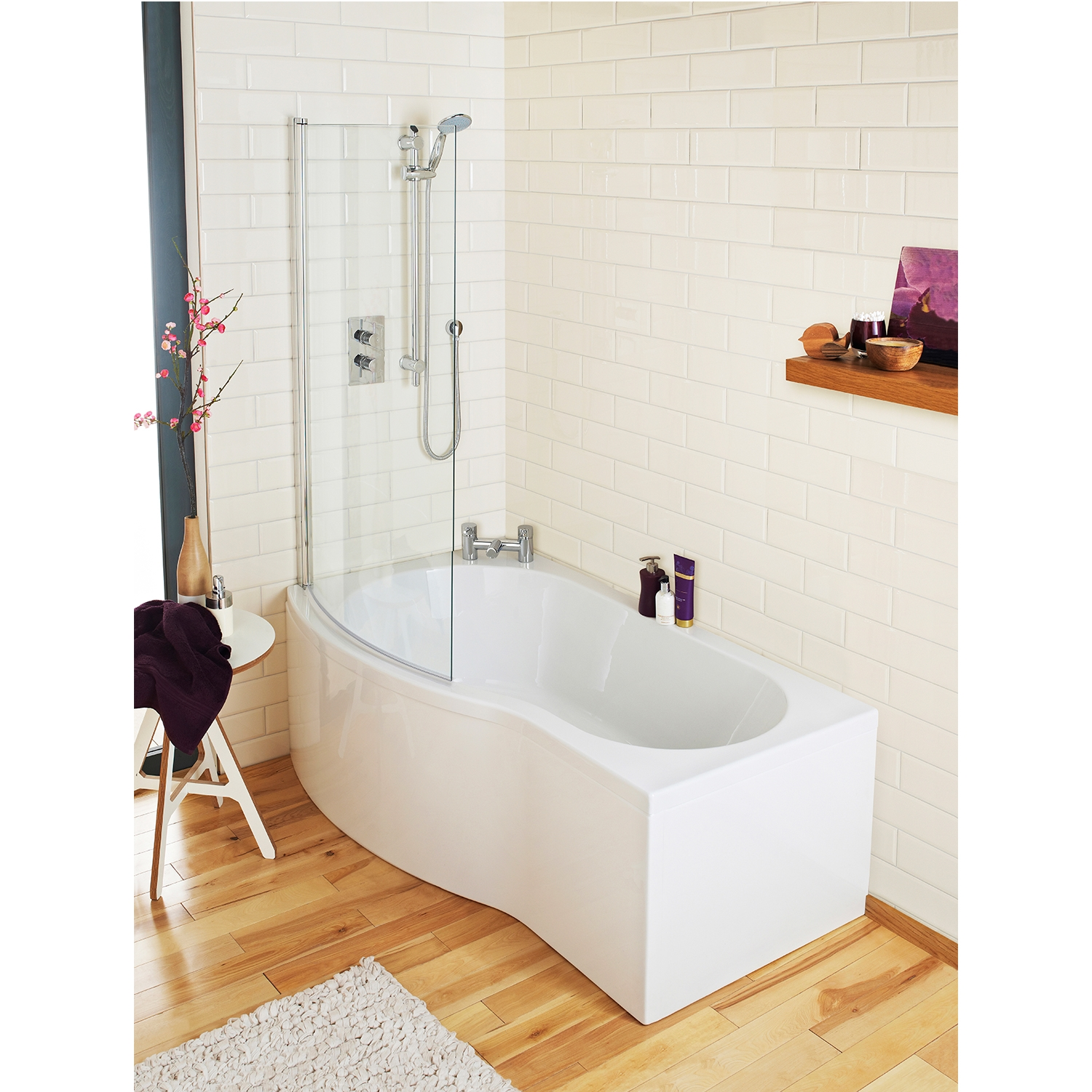 Premier B-Shaped Curved Shower Bath 1700mm x 735mm/800mm Left Handed