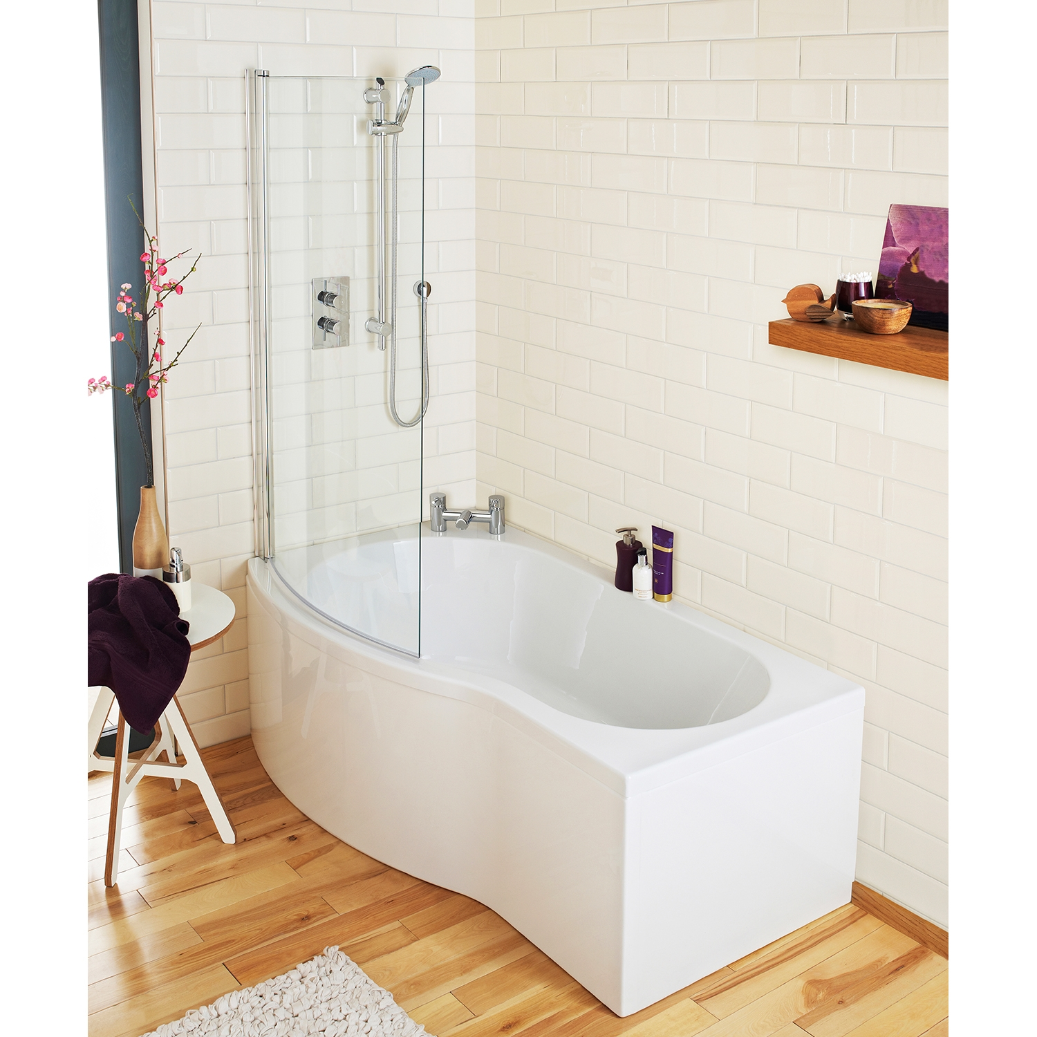 Premier b-Shaped Shower Bath Front Panel and Screen 1500mm x 735mm/800mm Left Handed