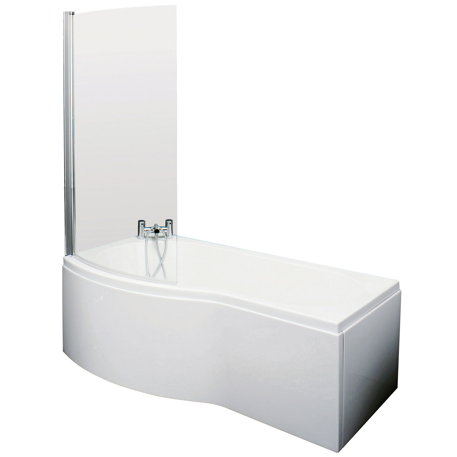 Premier B-Shaped Shower Bath with Front Panel and Screen 1700mm x 735mm/800mm - Left Handed