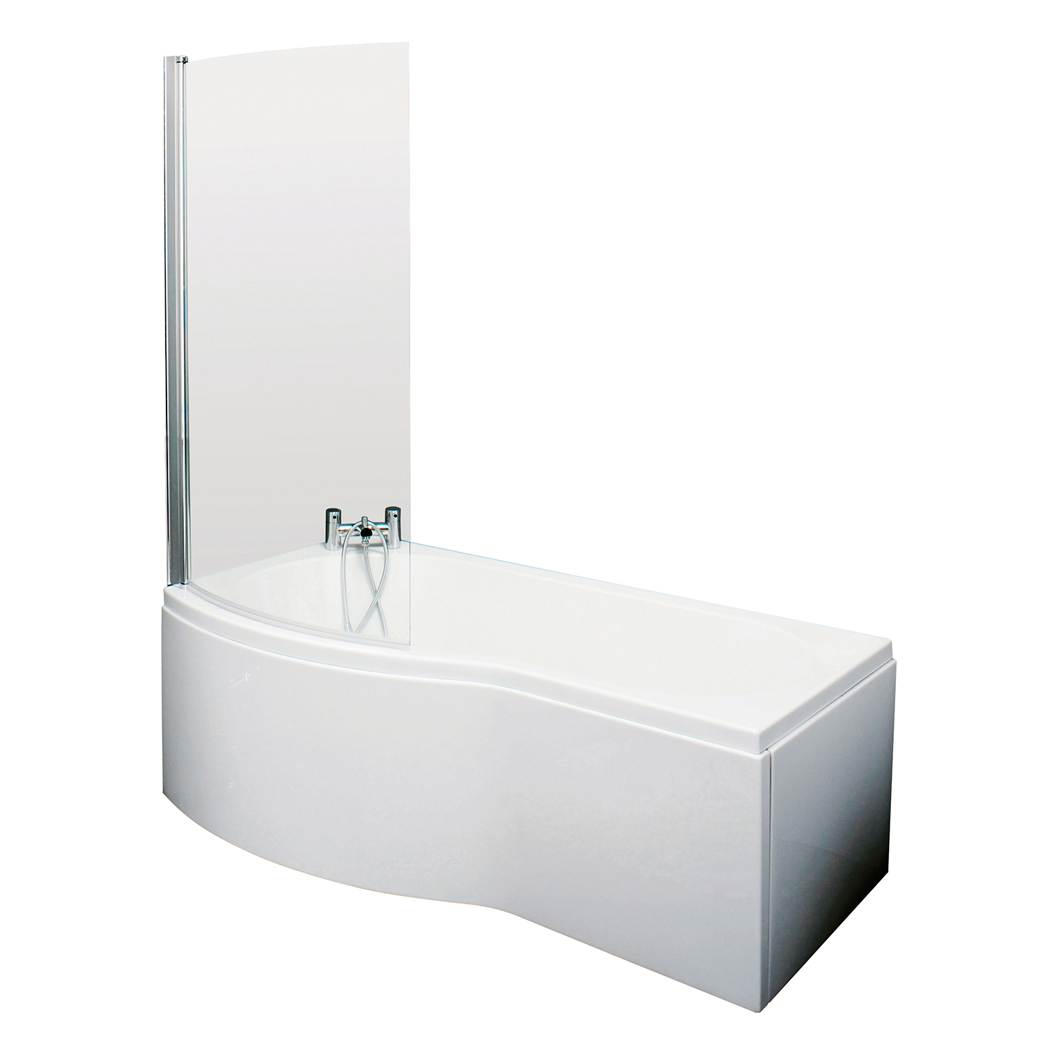 Premier B-Shaped Shower Bath Front Panel and Screen 1500mm x 735mm/800mm Left Handed - Acrylic